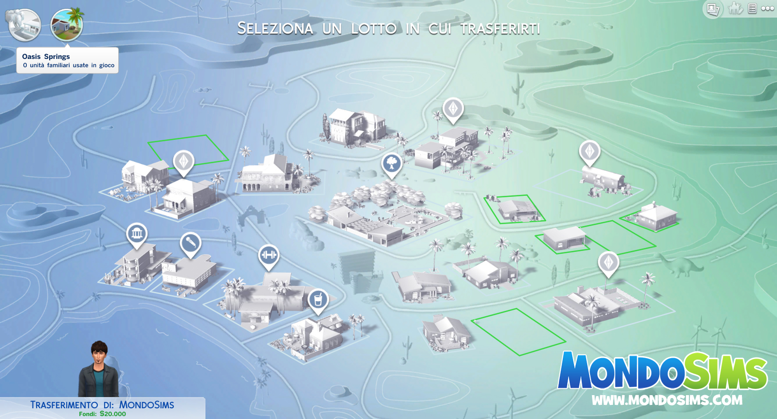 the sims 4 oasis springs mappa