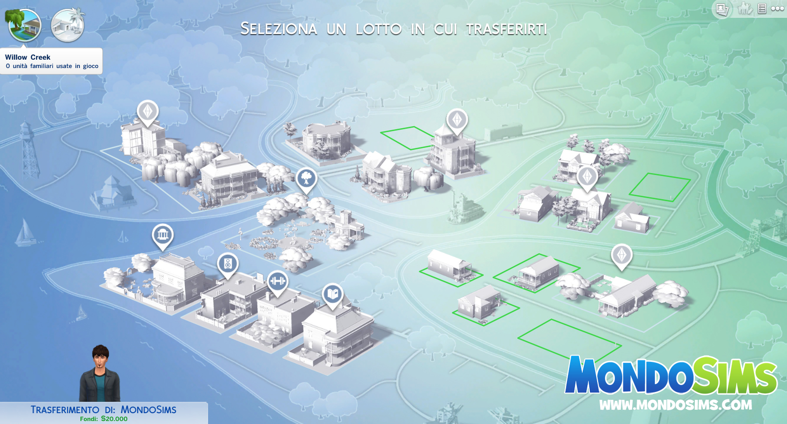 the sims 4 willow creek mappa